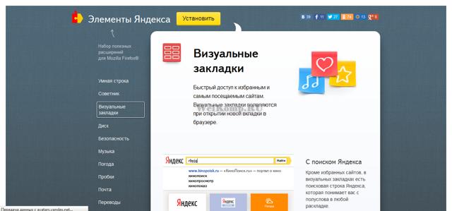 Обзор визуальных закладок от Яндекс для mozilla firefox